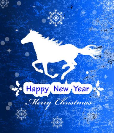The New Year Horse Vintage retro vector Christmas card Vector