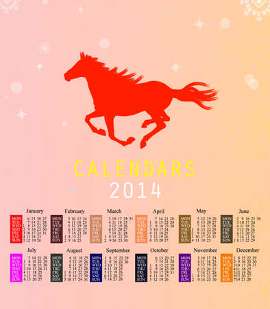 The New Year Horse Calendar 2014 text paint brush on paper recycle background Vector