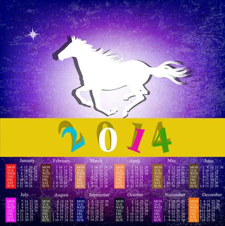 The New Year Horse  Calendar 2014 Vector