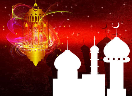 Arabic Lamp with on shiny abstract night background for Ramadan Kareem photo