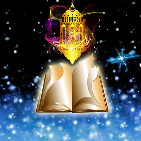 Arabic Lamp with on shiny and old book abstract night background for Ramadan Kareem photo