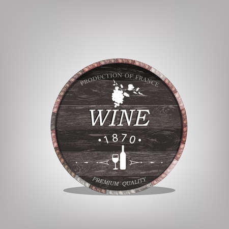 Wooden casks with grapes wine Vector sticker Vector