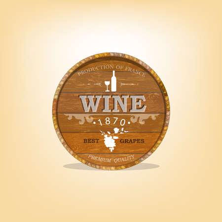 casks: Wooden casks with grapes wine Vector sticker