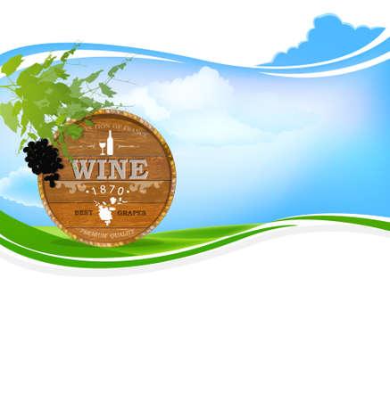 winemaking: Best wine grape Winemaking Nature background Vector Illustration