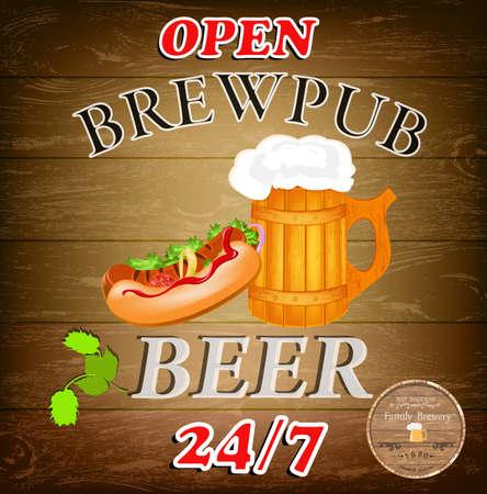 Best traditional fresh cold Beer Brewpub menu Vector Vector