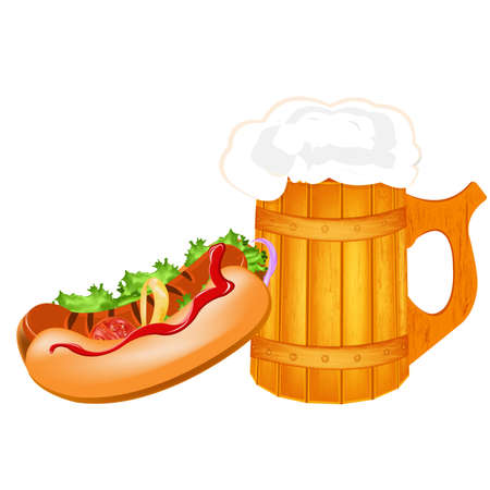 Best traditional fresh cold Beer and hotdog  photo