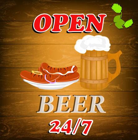 hogshead: Best traditional fresh cold Beer and sausage  Brewpub menu  Vector Illustration