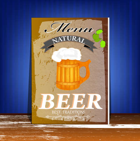 Best traditional fresh cold Beer  Restaurant menu  Vector Vector