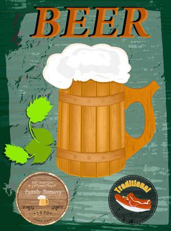 hogshead: Best traditional fresh cold Beer  Beer Bar menu  Vector Illustration
