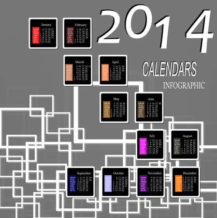 Infographic calendars New Year 2014 Vector abstract background Vector
