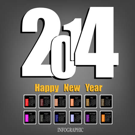 Creative Happy New Year 2014 Infographic Calendars Vector Vector