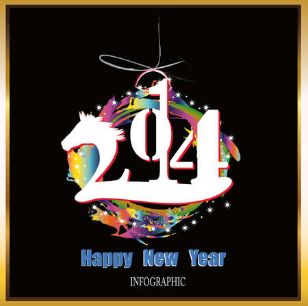 Creative Happy New Year 2014 Infographic Calendars Vector Stock Vector - 22951571