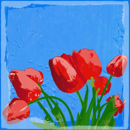 Garden red tulip Holiday card Poster Vector  Vector