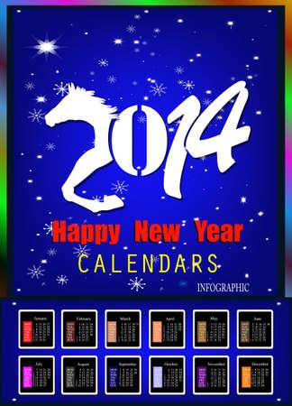 Creative Happy New Year 2014  Infographic Calendars   Vector