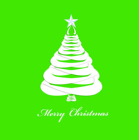 Abstract paper Christmas Green Tree Eve Template Vector Vector