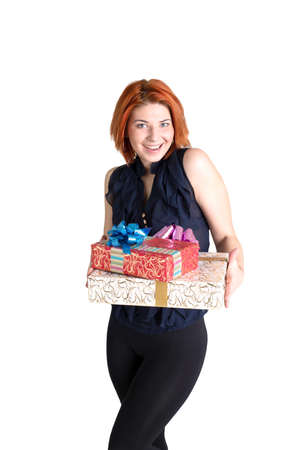 Happy girl with boxes gift on a white  photo