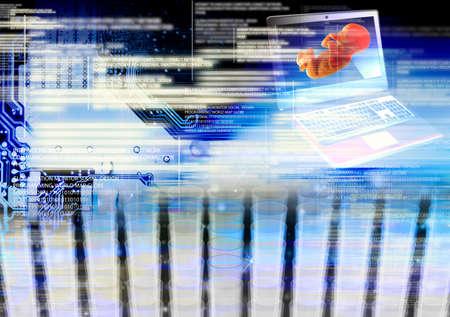 clonacion: Ordenadores Programaci�n de clonaci�n personas futura Foto de archivo