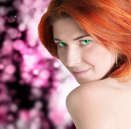 Fashion Model Woman Face brown-haired beautiful girl with bright green eyes photo
