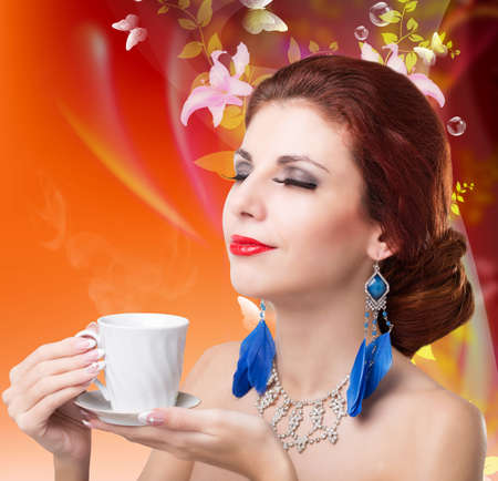 Beautiful Girl drinks aromatic Coffee  Natural Coffee photo