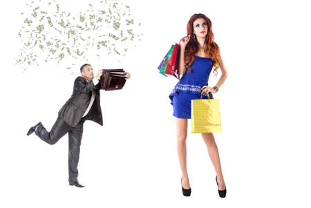 Businessman collects money for Holiday Gifts his Girlfriend photo