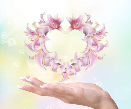 Love  Heart of Flowers Pink Lily on a female hand Valentines Day photo