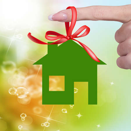 Green paper Home for Happy Life  photo