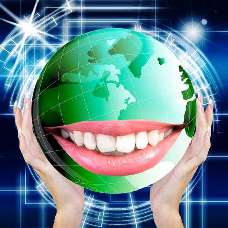 white smile: Smiling Green Globe Planet Earth white smile teeth Ecological Concept Archivio Fotografico