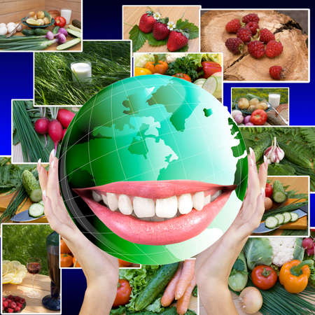 Smiling Green Globe Planet Earth white smile teeth Healthy Food Concept photo