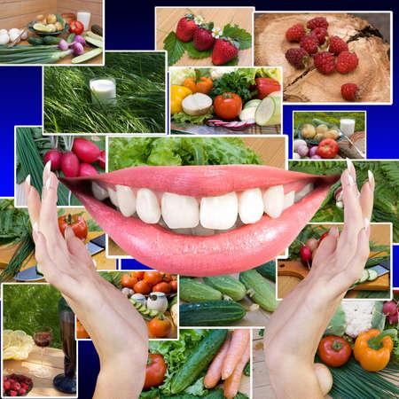 white smile: Sano sorriso bianco dei denti nelle mani di donna Dieta e nutrizione concetto Archivio Fotografico