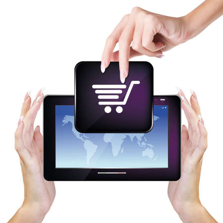 Digital Tablet in woman Hands E-commerce Internet photo