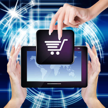 Computing Digital Tablet in Woman Hands E-commerce E-Shopping Season Discount Big photo