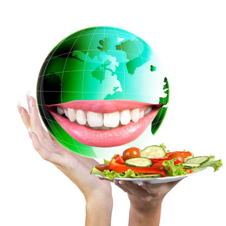 Smiling Green Globe Planet Earth white smile teeth Diet and Nutrition Healthy Food photo
