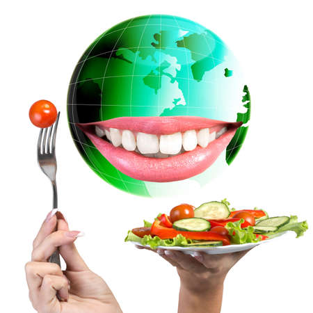 Smiling Green Globe Planet Earth white smile teeth Diet and Nutrition Vegetarian Eat photo