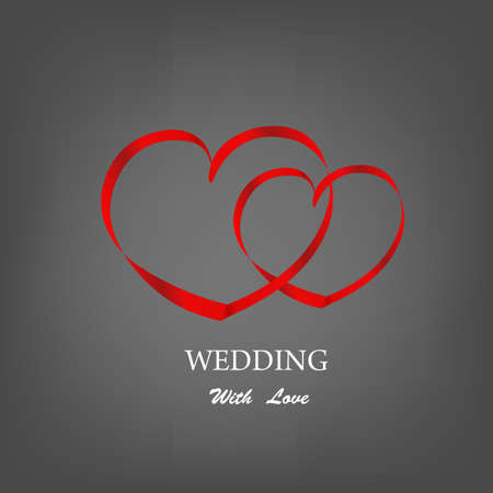 Heart looped ribbon abstract symbo. Wedding Day Concept Vector