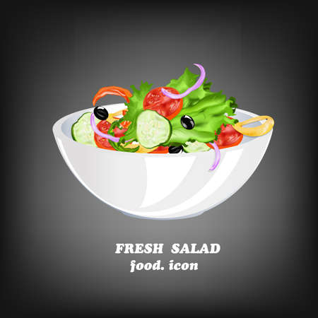 Fresh Vegetable Salad Healthy Food Vector Vector
