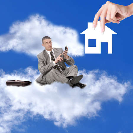 executive apartment: Businessman with calculator on cloud Financial business