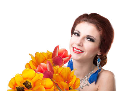 Beauty Young Girl with Spring Flower bouquet Holiday photo