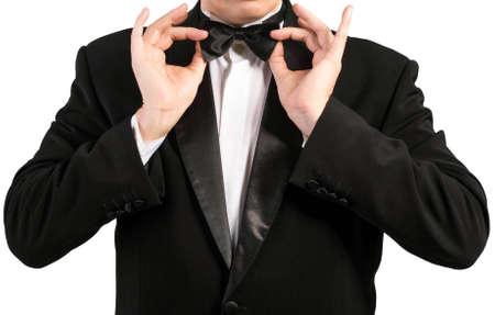 specific: Black Classic Tuxedo Fashion Stock Photo