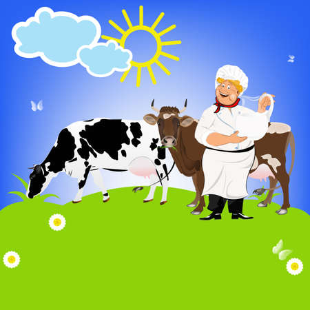 milkman: Happy Milkman and Dairy Cows on a green meadow Sticker Natural Milk Product Vector
