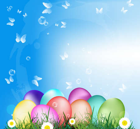 Easter Eggs on the green grass Holiday Happy Easter Vector Vector