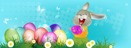 Happy Rabbit and Easter Eggs Happy Easter Vector Vector