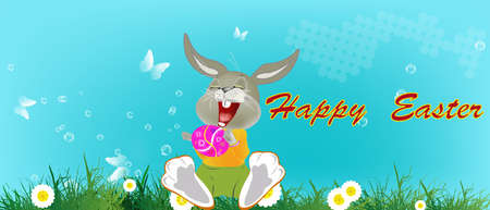 Happy Rabbit with Easter Egg Holiday  Happy Easter Vector Vector