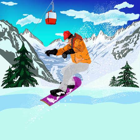 Mountain skiing Extreme Snowboard Vector Vector