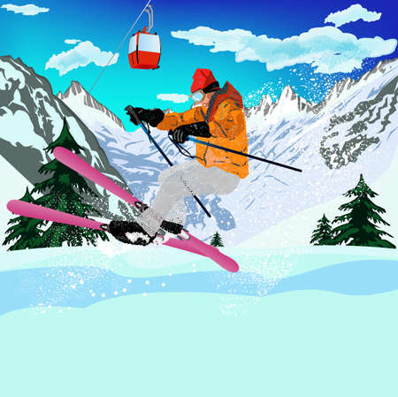 Freestyle Skiing Mountain skiing Extreme Skiing Winter Sport Vector Vector