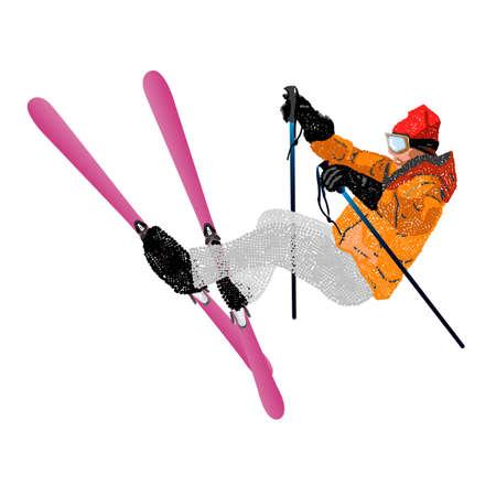 Narciarstwo dowolne Mountain nartach ekstremalne Sporty zimowe Vector Ilustracje wektorowe