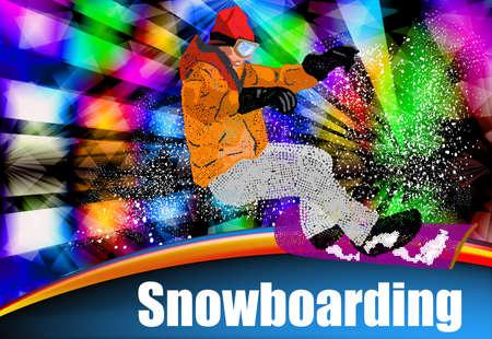 Extreme Snowboarding Sport Ski Freestyle Skiing  Vector