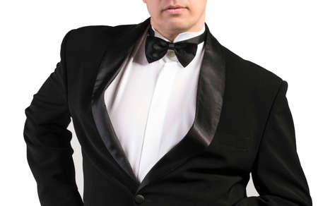 specific clothing: Classical Black Tuxedo isolated on white  Stock Photo