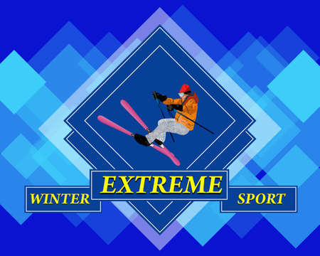 Adventure Winter Sport Freestyle Skiing Extreme Skiing Vector  Vector