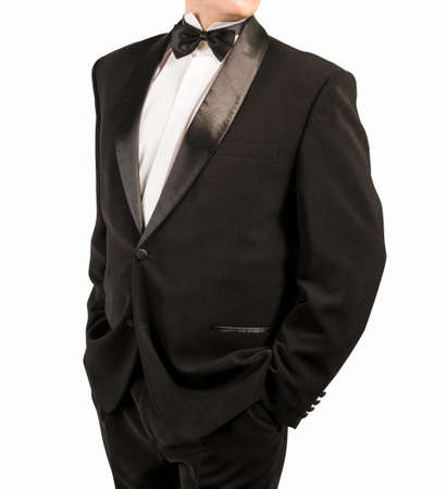 evening class: Classical tuxedo on an white  background Stock Photo