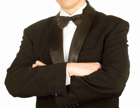 specific clothing: Classical tuxedo on an white  background Stock Photo